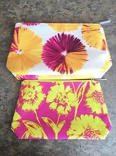 Clinique Set of 2 colorful summer floral cosmetic make-up zipper organizer bags