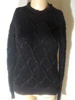 Allsaints Women's Black Cotton Beaded Sweater Size XS