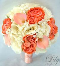 17 Piece Package Silk Flower Wedding Bridal Bouquet Decoration CORAL PEACH IVORY