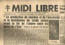 MIDI-LIBRE Journal 25 Mai 1945 Suicide d'HIMMLER Montgomery Pétain Maurras Laval