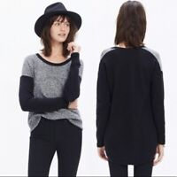 Madewell Textured Chronicle Sweater Pullover Hi-low Hem Gray Black Women Small