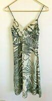 THEORY Layna Women's Cream/Black Tropical Print Silk V-Neck Lined Dress-Size 2