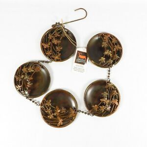 """Ancient Graffiti 5 Panel Raised Butterfly Disc Wall Art Metal Copper 34"""" Hanging"""