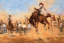 On Top Of The World by John A Hanna Rodeo Bucking Bronc Rider Western Art 10x15