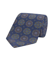 Turnbull & Asser Kaleidoscope Navy And Blue Printed Silk Tie 8cm