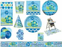 Boy Boys 1st First Birthday Blue Turtle Party Tableware Decorations