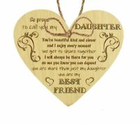 Daughter Gifts From Mum Dad Oak Wooden Heart Plaque Birthday Christmas Thank You