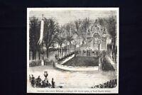 Estrazione Lotteria Belinzaghi, ai Vecchi Giardini Pubblici Incisione del 1869