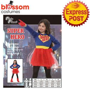 CK2147 Deluxe Superhero Supergirl Girls Hero Child Halloween Book Week Costume