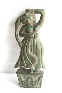 Hand Carved Vintage Wooden Dancing Lady Statue Rustic Indian Home Decor BR-2