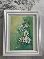 Daisy watercolor original painting! Botanical wall art.Nature watercolor.