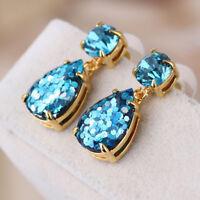 Kate Spade Glitter Teardrop Shine On Sky Blue Crystal Drop Earrings on Card
