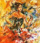 "Marta Wiley-""Flamingo""-Original Acrylic Painting/Canvas/Hand Signed/COA-30""x 30"""