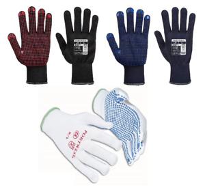 Portwest A110 Nylon Polka Dot Grip Glove PVC High Dexterity Breathable 13 Gauge