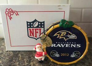 NEW In Box Baltimore Ravens Danbury Mint Christmas 2012 Ornament Santa On House