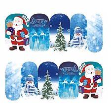 Nail Art Sticker Water Transfer Stickers Xmas Snowman Santa & Tree (DS412)