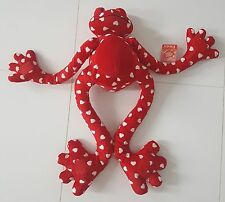 """PLUSH TOY STUFFED ANIMAL FROG VALENTINES RED WHITE HEARTS 31"""" TALL HUGS YOU CUTE"""