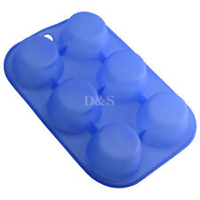 "D2.4"" 6-Cell Puff Muffin Cupcake Pastry Pudding Silicone Mold Pan Baking Tray"