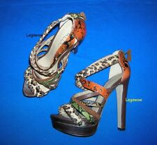 "Aldo Strappy Leather 6"" Heel Platform Sandals Womens 8 Shoe Platform Soderquist"