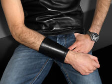 beautiful black REAL LEATHER cuff wristband bracelet wallet purse
