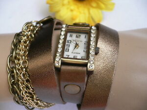 New Women Bracelet Quartz Watch Rusty Gold Bronze Chains Faux Leather Rhinestone