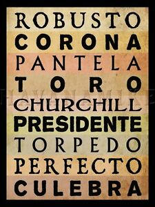 CIGAR SIZES Tobacco Art Photo Print Poster Cuban TORPEDO, CORONA, CHURCHILL