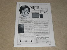 Klipsch Heresy Speaker Ad, Model H, 1967, 1 page, Articles, Info, 1st One