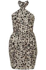 TOPSHOP Animal Print Leopardprint Halterneck Party Dress Size 6 £36 NEW GN9
