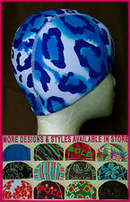 Kids 4 - 14 yrs LYCRA SWIMMING CAP - BLUE & WHITE PRINT - Childs Swim Hat - NEW