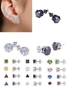 1 Pair Diamante Crystal Zirconia Titanium Stud Earrings - Sizes 3mm to 8mm