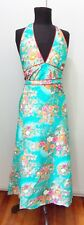 Immaculate Size 10 Turquoise Cotton Halterneck Dress- 47cm Bust