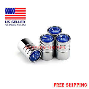 Chrome Car Wheel Tire Tyre Air Valve Caps Stem Cover With SUBARU Emblem US