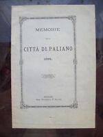 1891 MEMORIE DELLA CITTA' DI PALIANO NEL FRUSINATE PROVINCIA DI FROSINONE