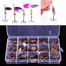 30pcs Useful Fishing Lure Metal Colorful Trout Spoon Spinner Baits Bass Tackle