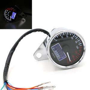 Motorcycle Pointer Speedometer Digital Odometer Indicator Ligth Fuel Gauge 12V