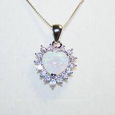 Created Opal Heart Diamond Alternatives Pendant Necklace 14k White Gold on 925SS