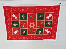 Vintage Christmas Tablecloth Table Runner Angels Hearts Ornaments Snowflakes