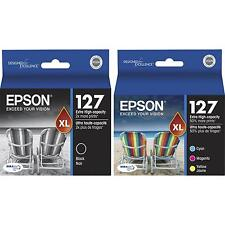 4-PACK Epson GENUINE 127 Black & Color Ink (NO RETAIL BOX) for WORKFORCE 635 645