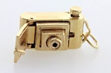 Vintage 14K Yellow Gold Intricate Pop-out Movable Lens Camera Charm Pendant
