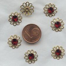 62020 S *** 2 fleurs filigrane Swarovski 12mm avec strass serti SIAM