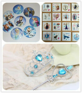 Frozen Elsa Anna Tattoo Wall Stickers Badge Tiara Wand Removable Decor Kids gift