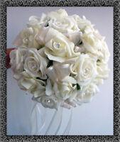 BRIDESMAID WEDDING POSY IVORY ROSES DIAMANTE AND PEARLS  Choose Ribbon Colour