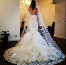 22v Elegant Bridal 3m White Tulle Embroidered Lace Work Edge Wedding Veil w Comb