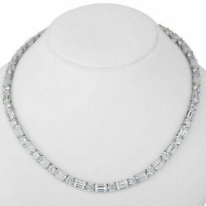 Ladies 18 Ct Emerald & Round Diamond Tennis Necklace 14K White Gold Over