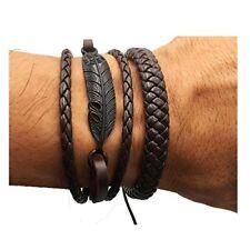 2 PCS Handmade Woven Leather Bracelet Women-Men Alloy Wrist Rope Drawstring Cuff