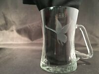 COFFEE MUG CLEAR GLASS ETCHED CRANE SWAN ASIAN ELEGANT HANDLE VINTAGE ARTSY
