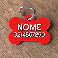 Medaglietta PERSONALIZZATA cane forma di osso NOME telefono rossa