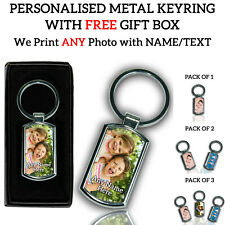 More details for personalised printed any photo text image name chrome metal keyring gift set