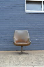 Vintage chair Mid century brown vinyl swivel tub  chair