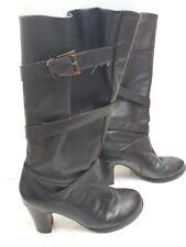 Women's JONES KNEE HIGH BOOTS Size 4 Brown LEATHER
